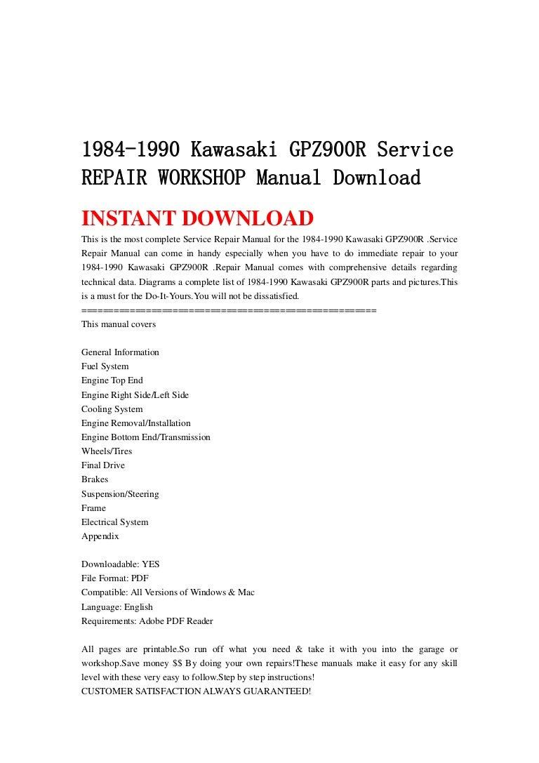 1984 1990 Kawasaki Gpz900 R Service Repair Workshop Manual Download Engine Diagram 1985 Ninja 900