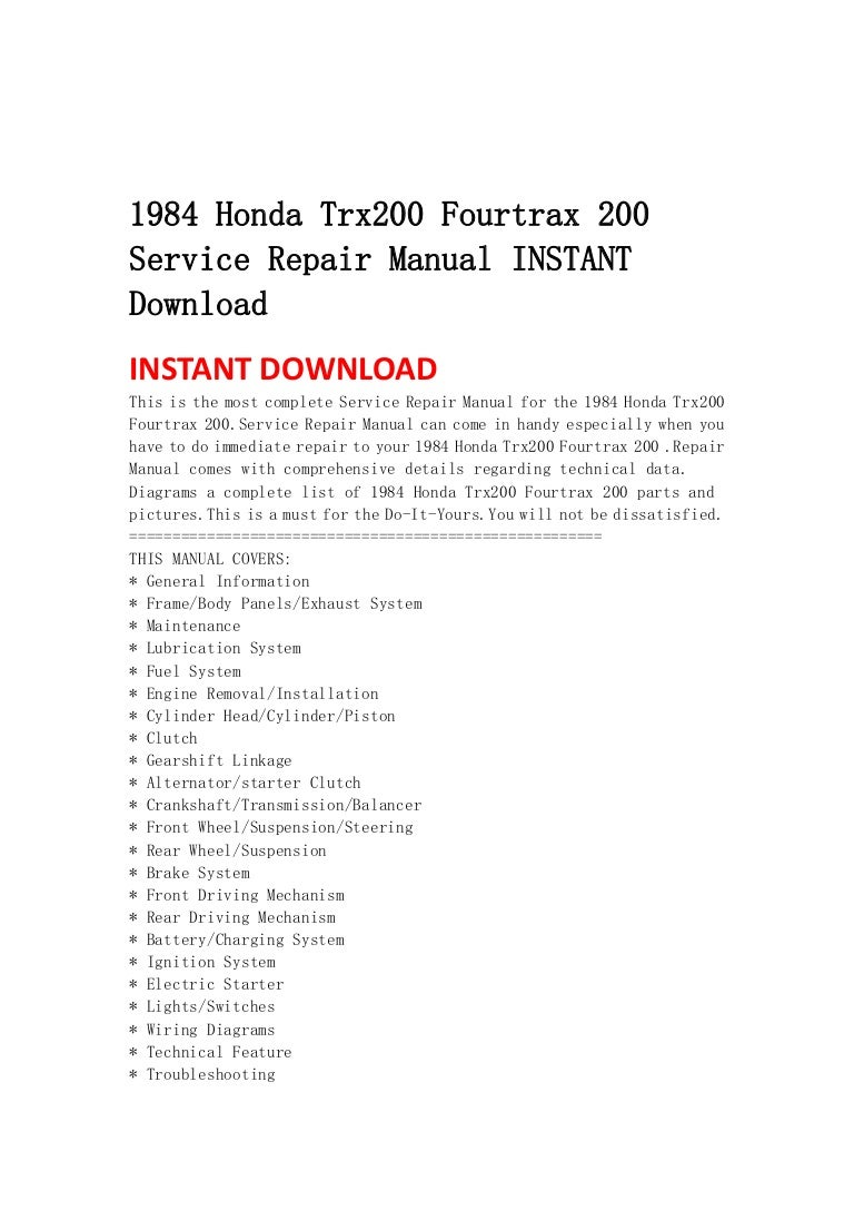 1984hondatrx200fourtrax200servicerepairmanualinstantdownload 130429073503 phpapp01 thumbnail 4?cb=1374520873 1984 honda trx200 fourtrax 200 service repair manual instant download 1984 honda trx 200 wiring diagram at crackthecode.co