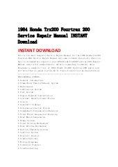 1984 honda trx200 fourtrax 200 service repair manual instant ... on