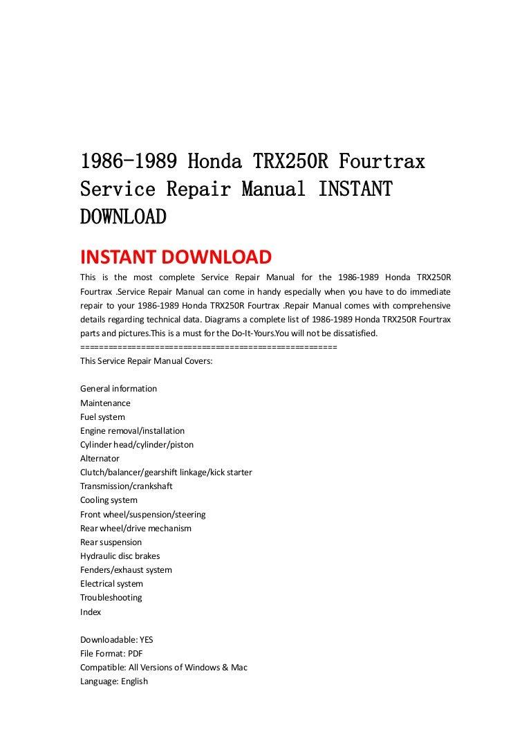 1989 honda trx 250r wiring diagram trusted wiring diagram honda trx400ex wiring  diagram 1986 1989 honda