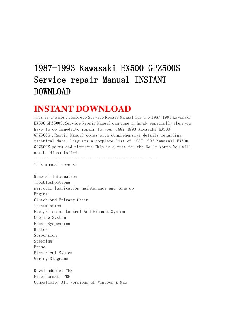1987 1993 Kawasaki Ex500 Gpz500 S Service Repair Manual Instant Downl Gpz 500 Wiring Diagram