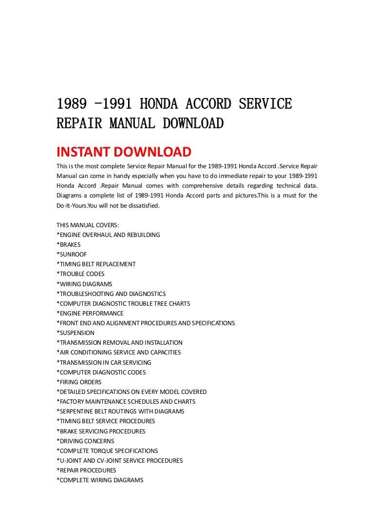 1989 1991 Honda Accord Service Repair Manual Download Gl1800 Wiring Diagram Communication