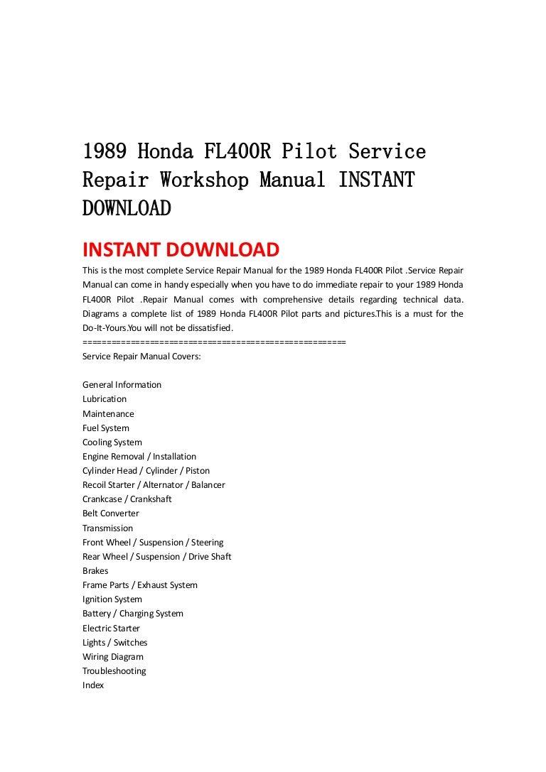 1989 Honda Fl400 R Pilot Service Repair Workshop Manual Instant Downl 89 Wiring Diagram