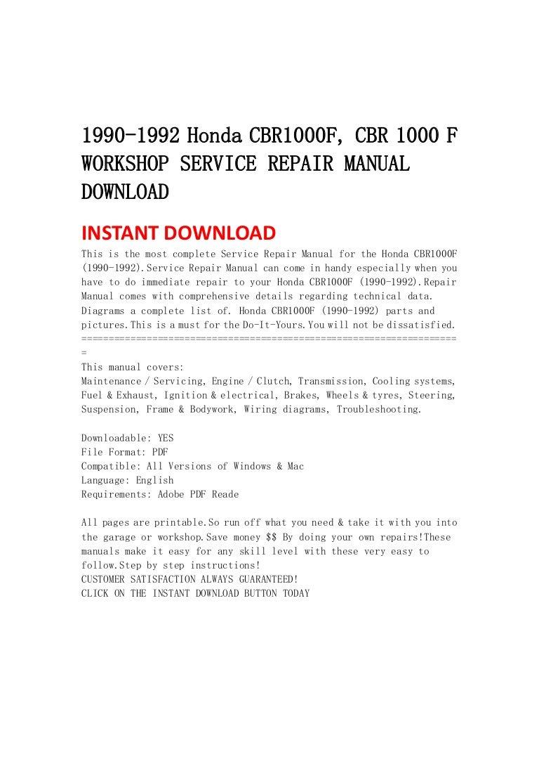 1990 1992 Honda Cbr1000 F Cbr 1000 Workshop Service Repair Manual Engine Diagram