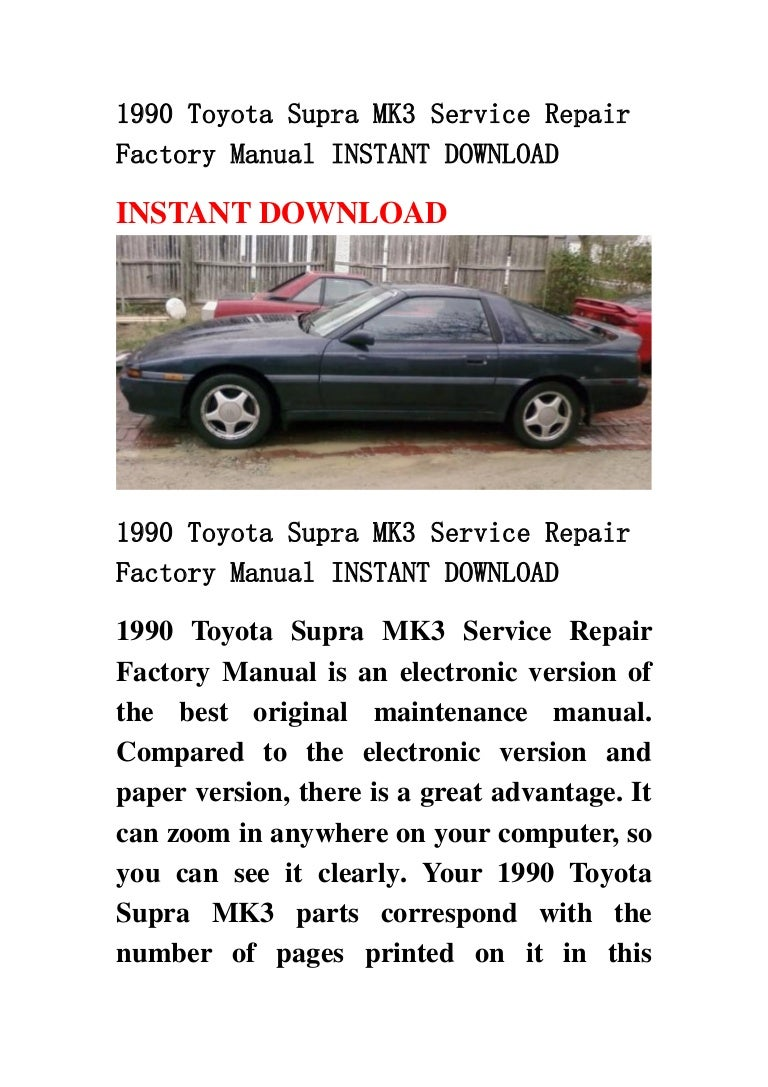1990 Toyota Supra Electrical Wiring Diagram