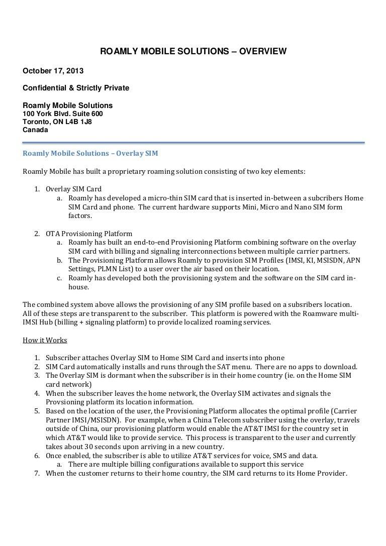 Roamly Mobile - SIM Overlay Overview