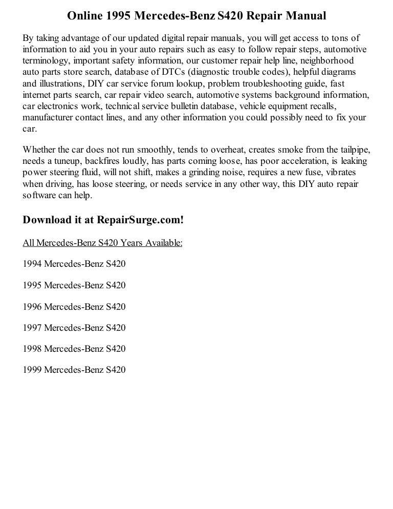 1996 mercedes s420 fuse box diagram 1995 mercedes benz s420 repair manual online  1995 mercedes benz s420 repair manual