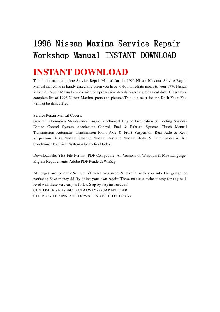 1996 nissan maxima service repair workshop manual instant download rh  slideshare net 1996 nissan maxima owners manual pdf 1996 nissan sentra  service manual