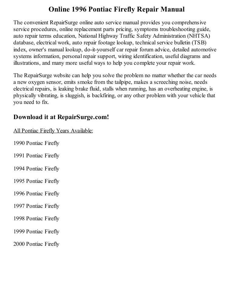 1996 Pontiac Firefly Repair Manual Online