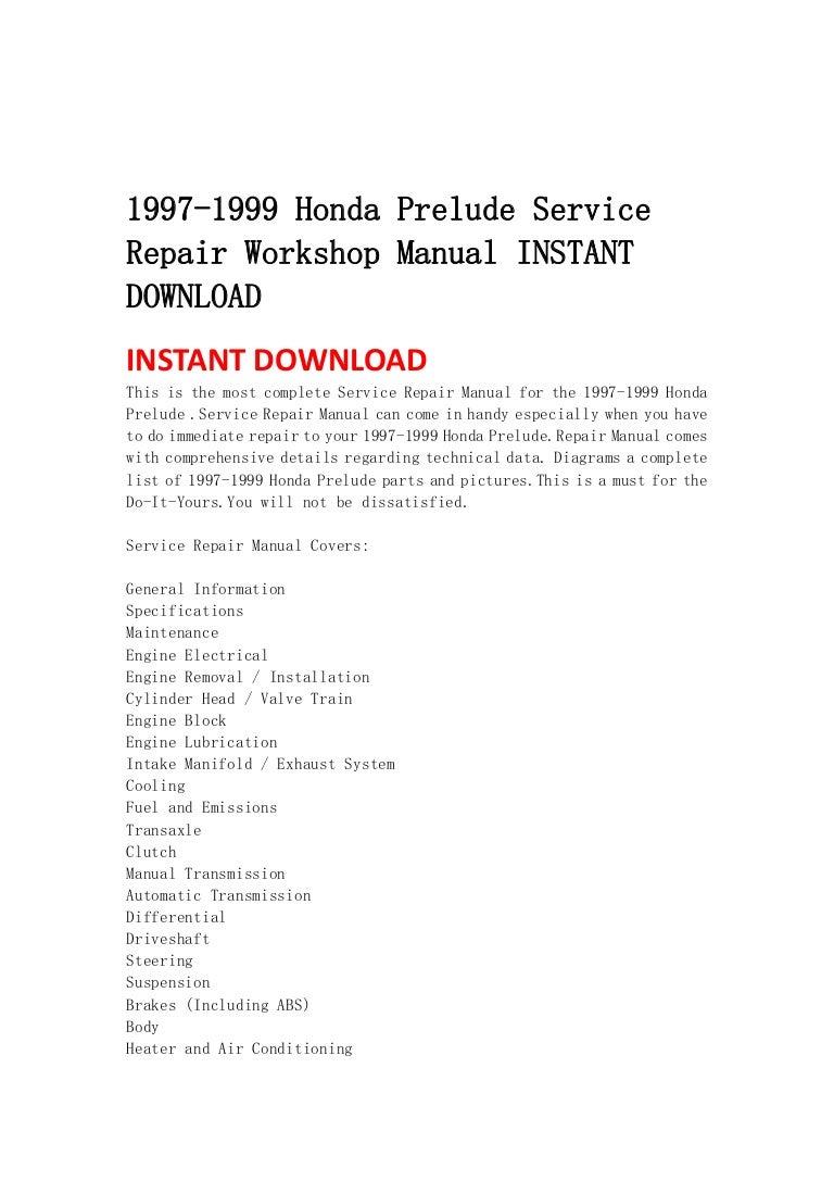 1997 1999 Honda Prelude Service Repair Workshop Manual Instant Downlo Air Conditioning Maintenance Diagram Basic Showing The