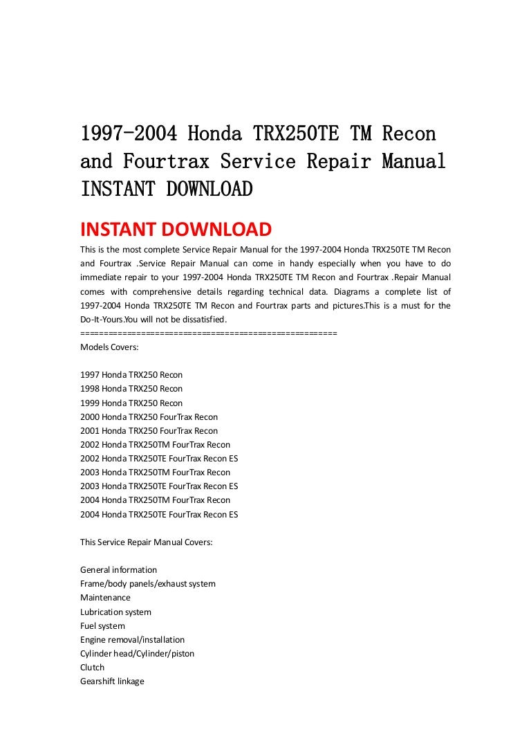 97 Honda Recon Wiring Diagram Just Diagrams Engine 1997 2004 Trx250 Te Tm And Fourtrax Service Repair Manual Electrical