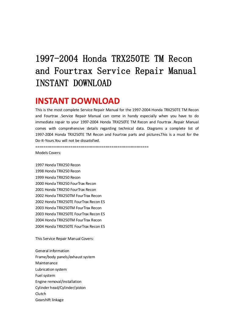 97 Honda Recon Wiring Diagram Just Diagrams Engine 1997 2004 Trx250 Te Tm And Fourtrax Service Repair Manual Electrical
