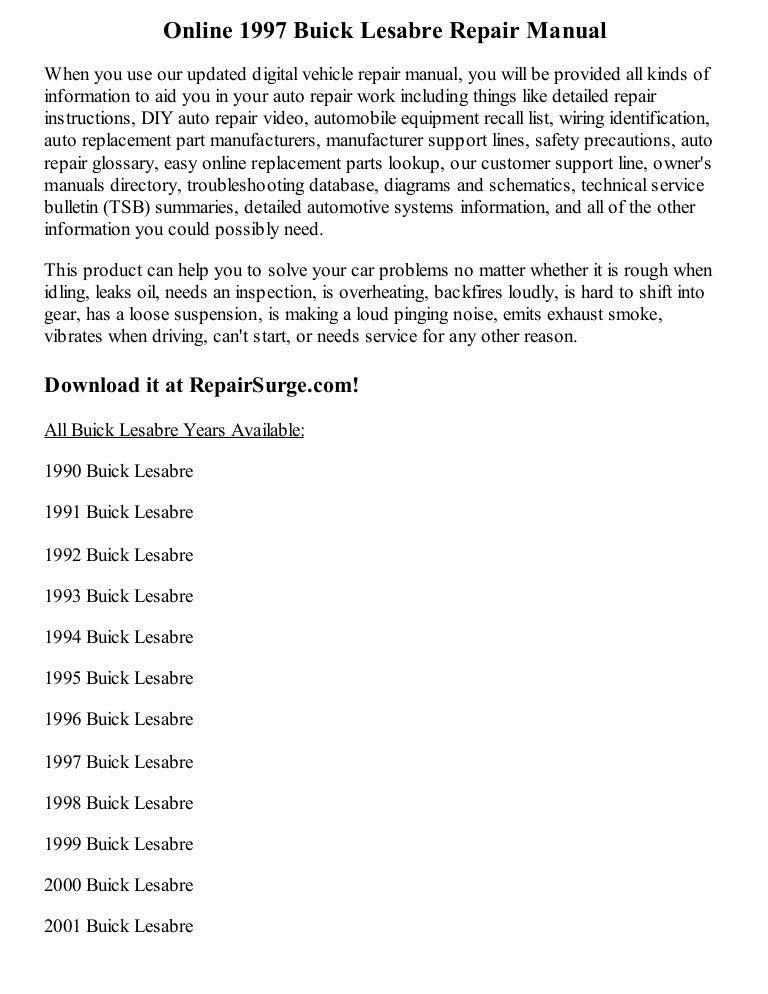 1997 buick lesabre repair manual online rh slideshare net 1997 Buick LeSabre Interior 1997 Buick LeSabre Problems
