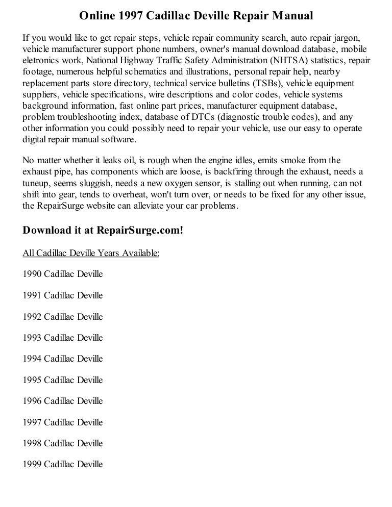 1997 Cadillac Deville Repair Manual Online