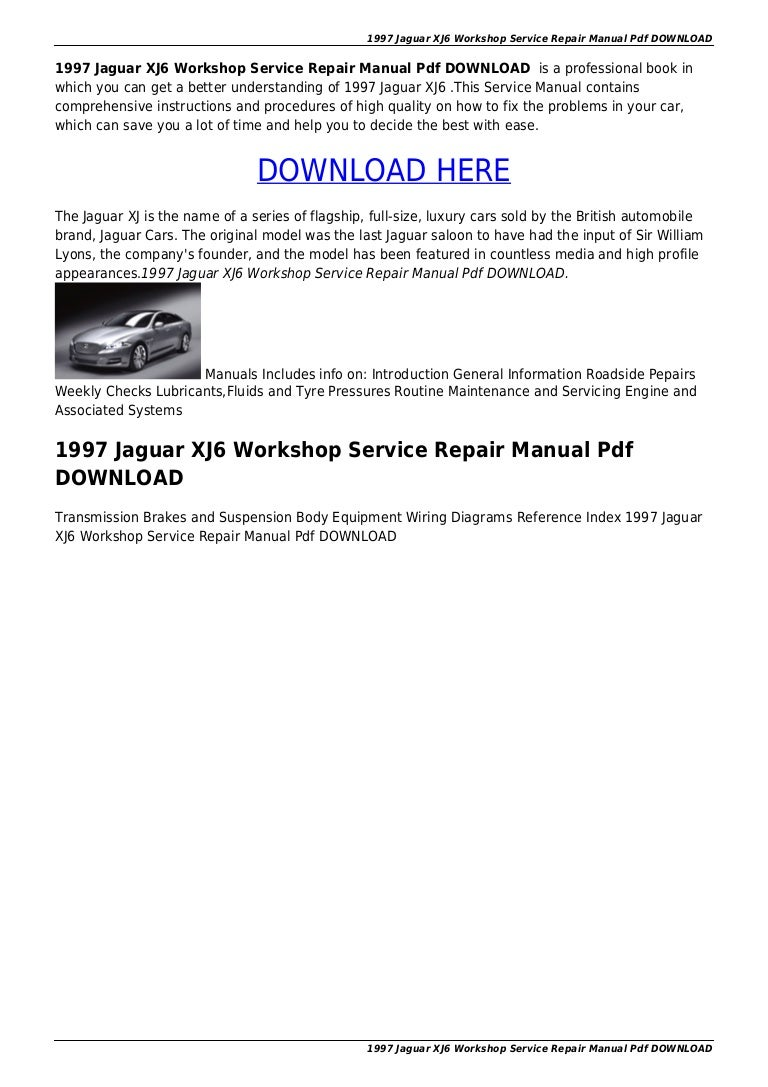 Jaguar Wiring Diagrams 97 Schematics 1997 Xj6 Workshop Service Repair Manual Pdf Download Rh Slideshare Net 1995