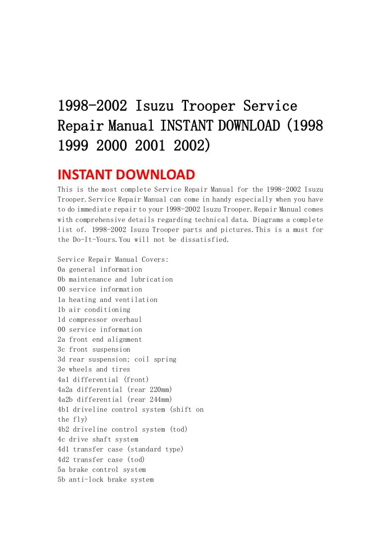 ISUZU TROOPER WORKSHOP SERVICE MANUAL DOWNLOAD