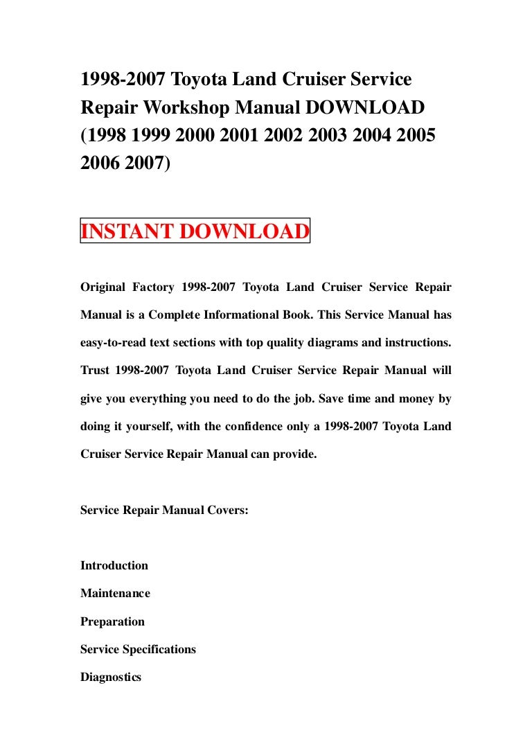 1998 2007 Toyota Land Cruiser Service Repair Workshop Manual Download 2000 Power Window Wiring Diagram