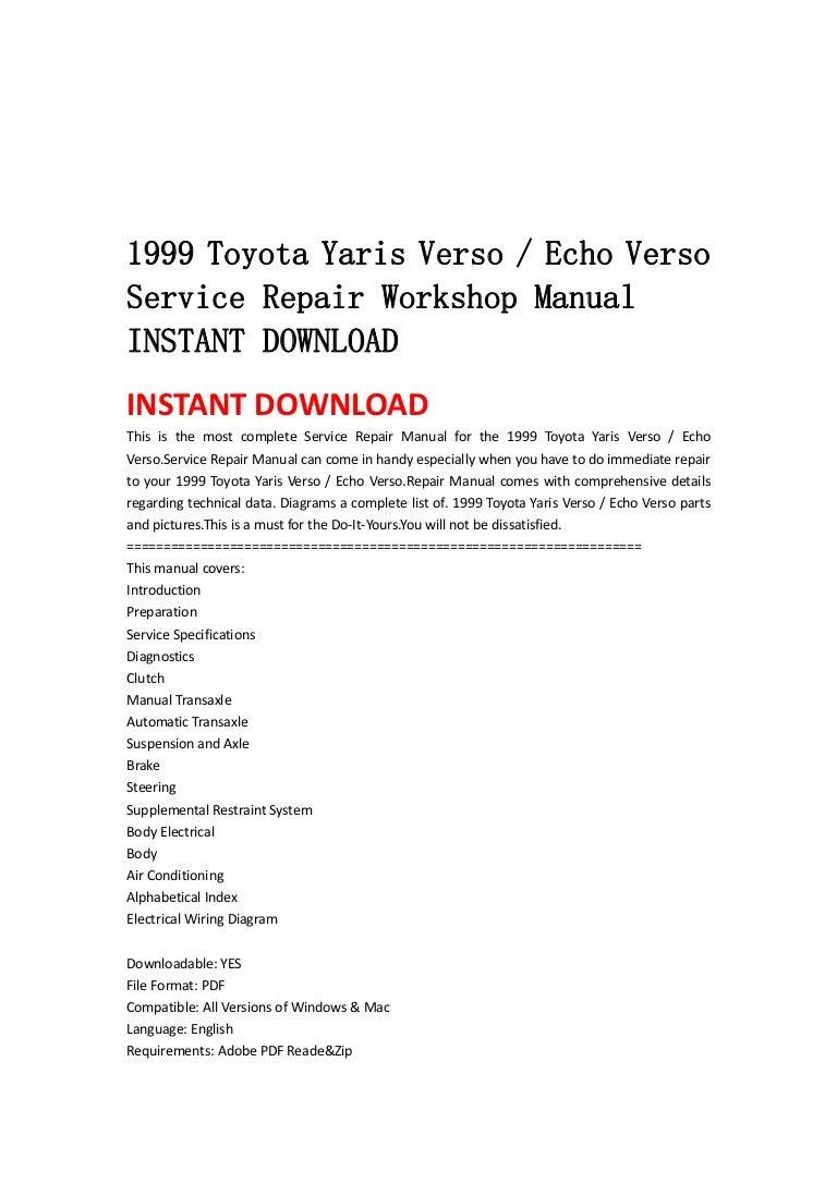 1999 2005 Toyota Yaris Verso Echo Service Repair Manual Downlo Belta Wiring Diagram