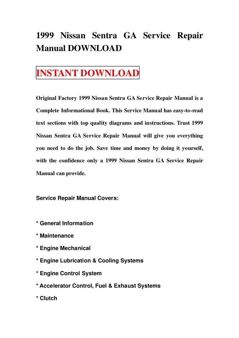 1999 nissan sentra service repair manual download
