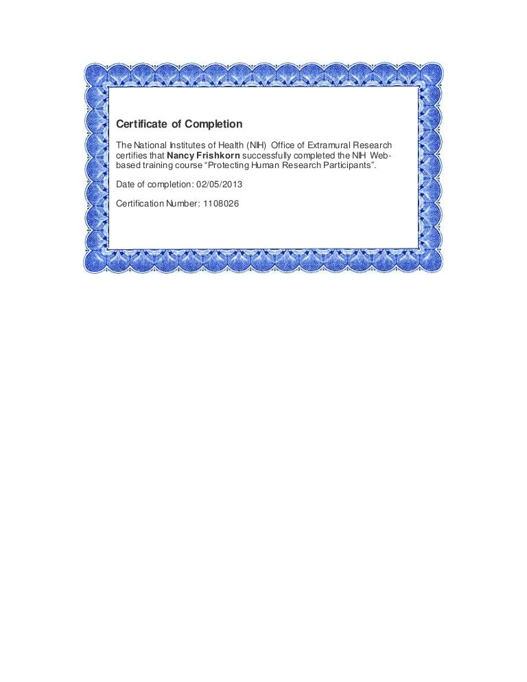 NIH Certificate of Completion
