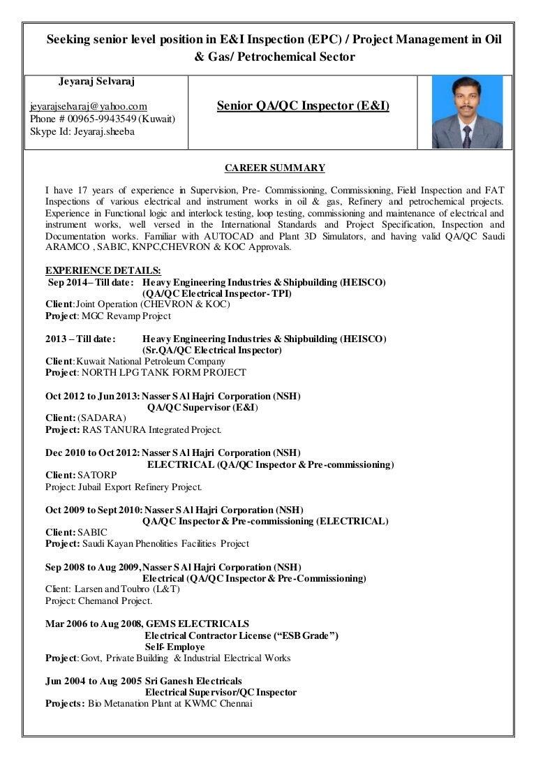 qa qc inspector resume cv format for qa qc inspector service