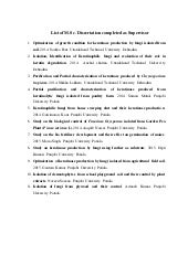 List of MSc Dissertation completed as Guide