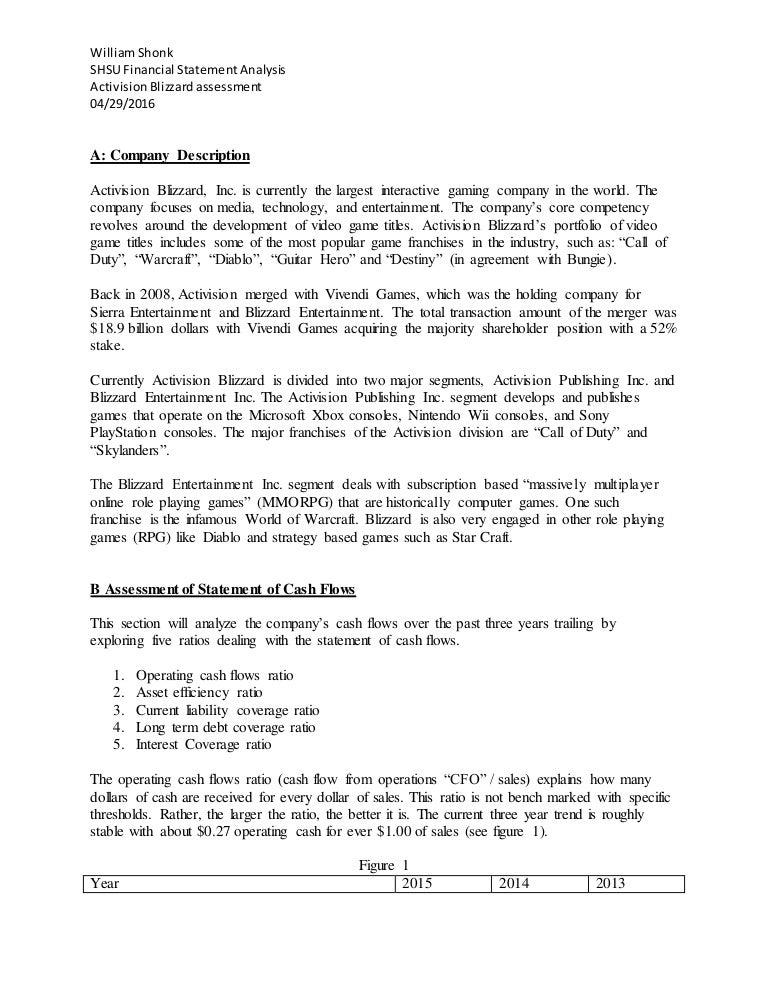 Activision Blizzard Financial Assesment William Shonk