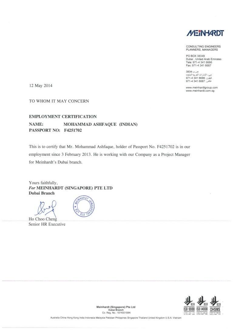 certificate employment slideshare meinhardt upcoming