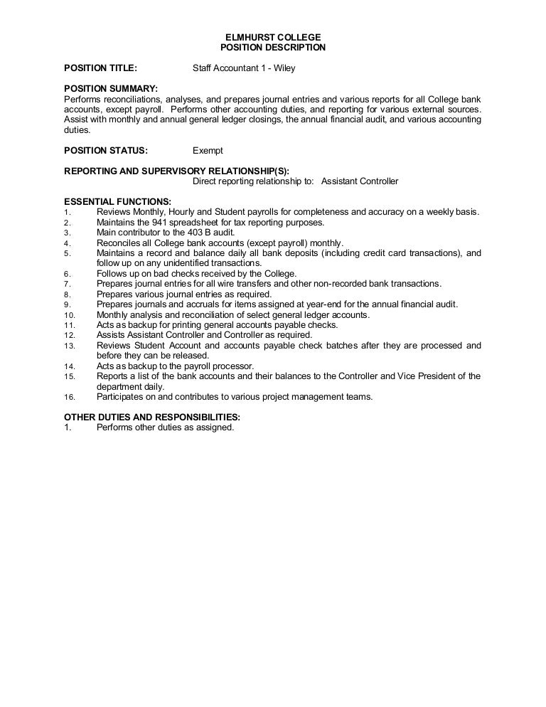 Job Description - Staff Accountant I