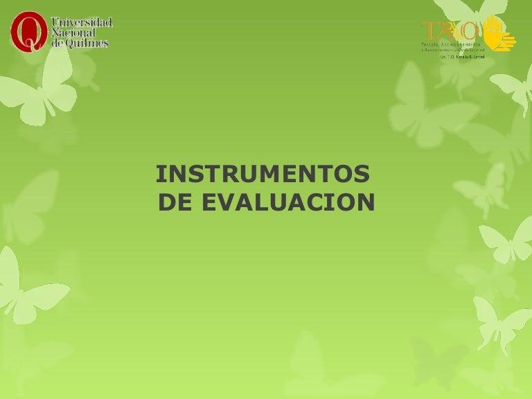 Instrumentos de Evaluacion del Modelo de la Ocupación Humana