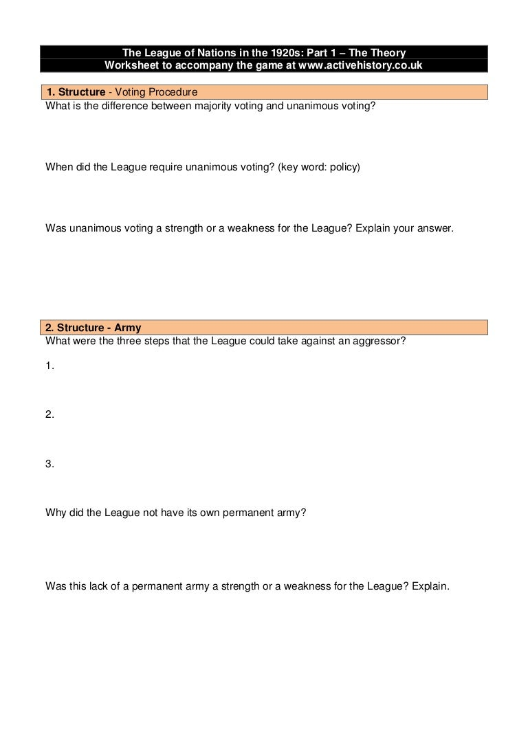 League Of Nations Worksheet