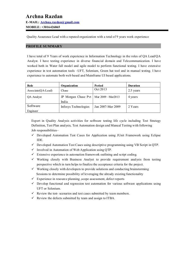 Archna Razdan Quality Assurance Lead Resume Autosaved