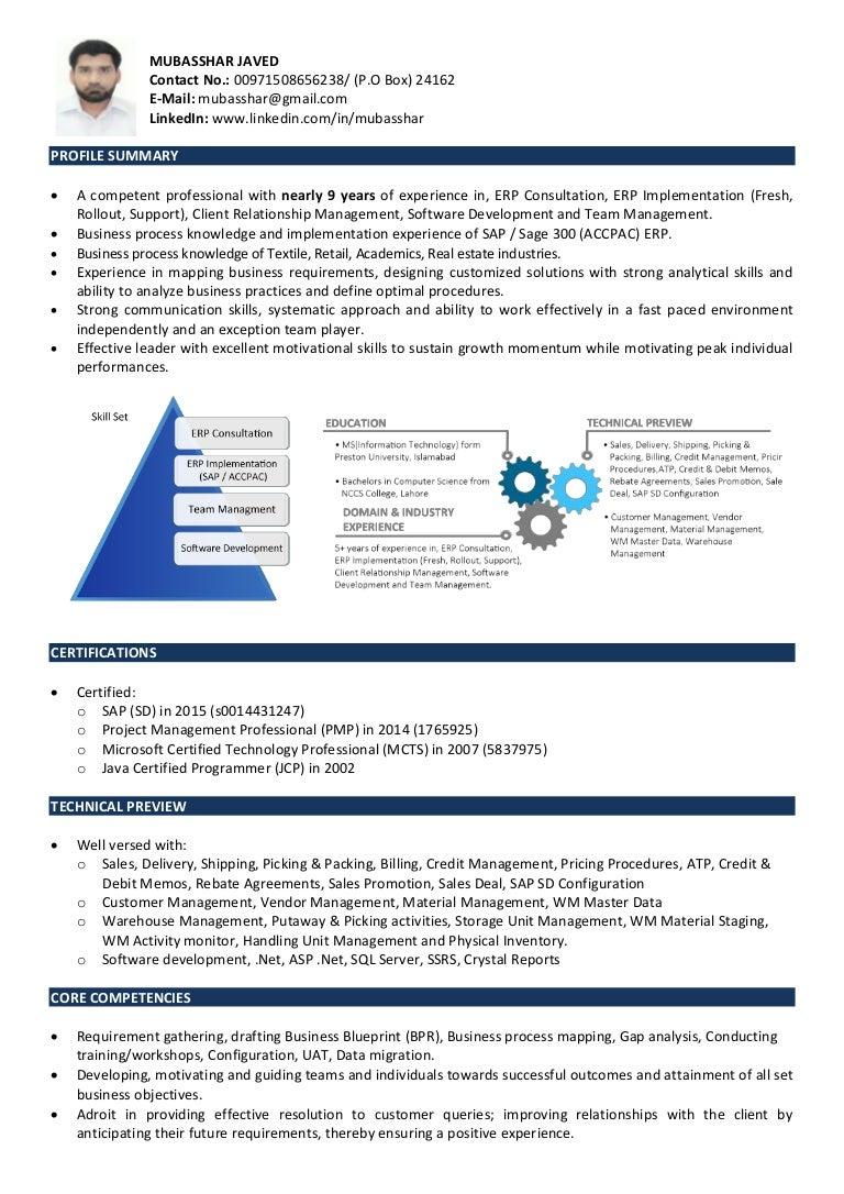 Erp Consultant Resume Sample - Virtren.com