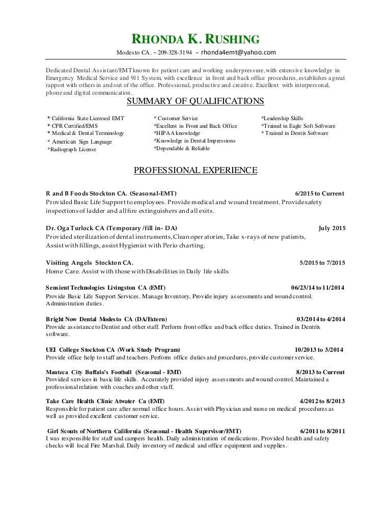 da and emt resume certified emt resume - Certified Emt Resume