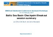 Outputs and recommendations from the Baltic Sea-basin Checkpoint Workshop