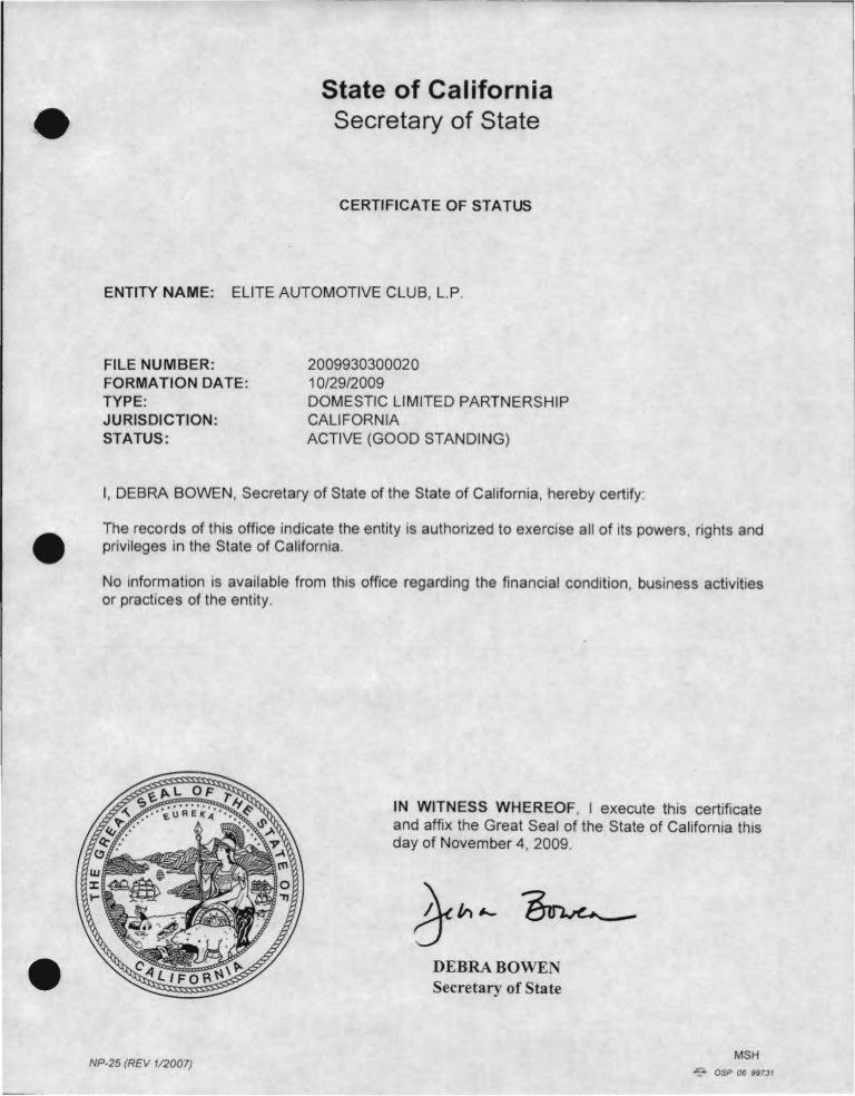 Elite Auto Club Lp Certificate Of Good Standing