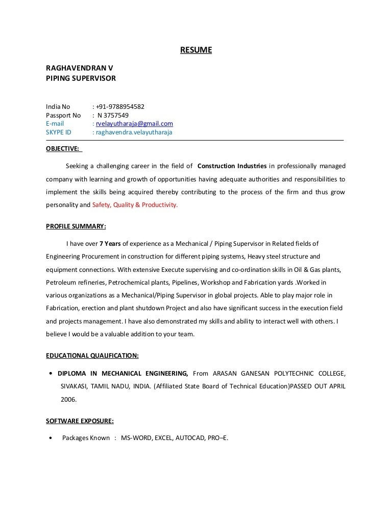piping supervisor resume - Supervisor Resume Templates