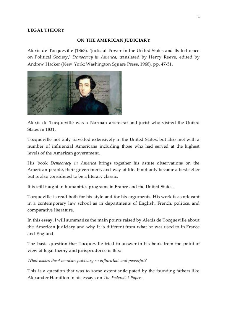 essay on democracy in america tocqueville on the american  tocqueville on the american judiciary