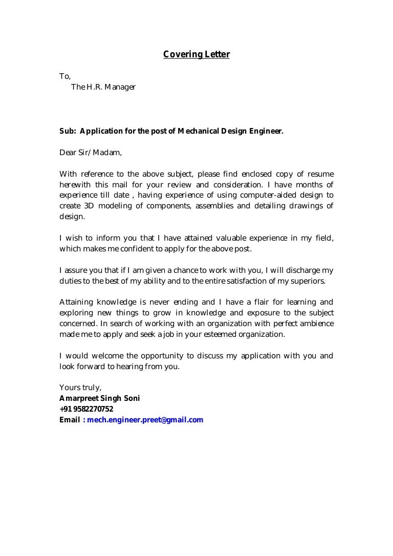 Mechanical Design Engineer Cover Letter Choice Image - Cover ...