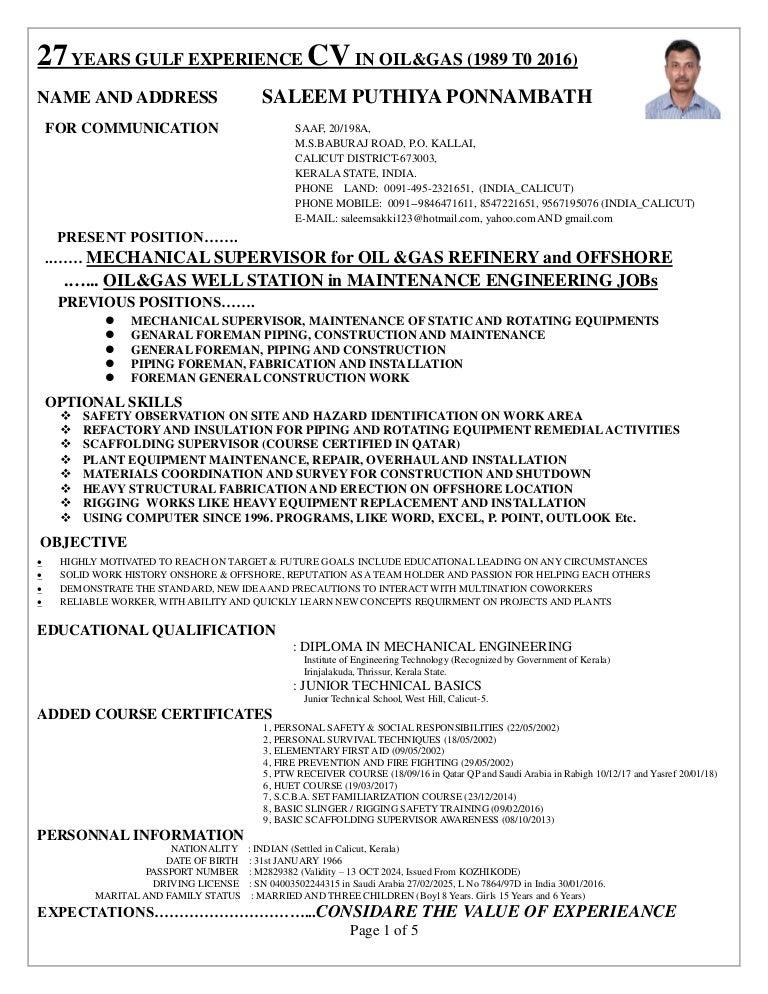 supervisor cv for onshore and offshore mechanical mantenance constu2026 - Rotating Equipment Engineer Sample Resume