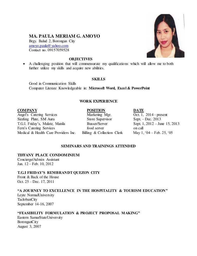resume of ofw