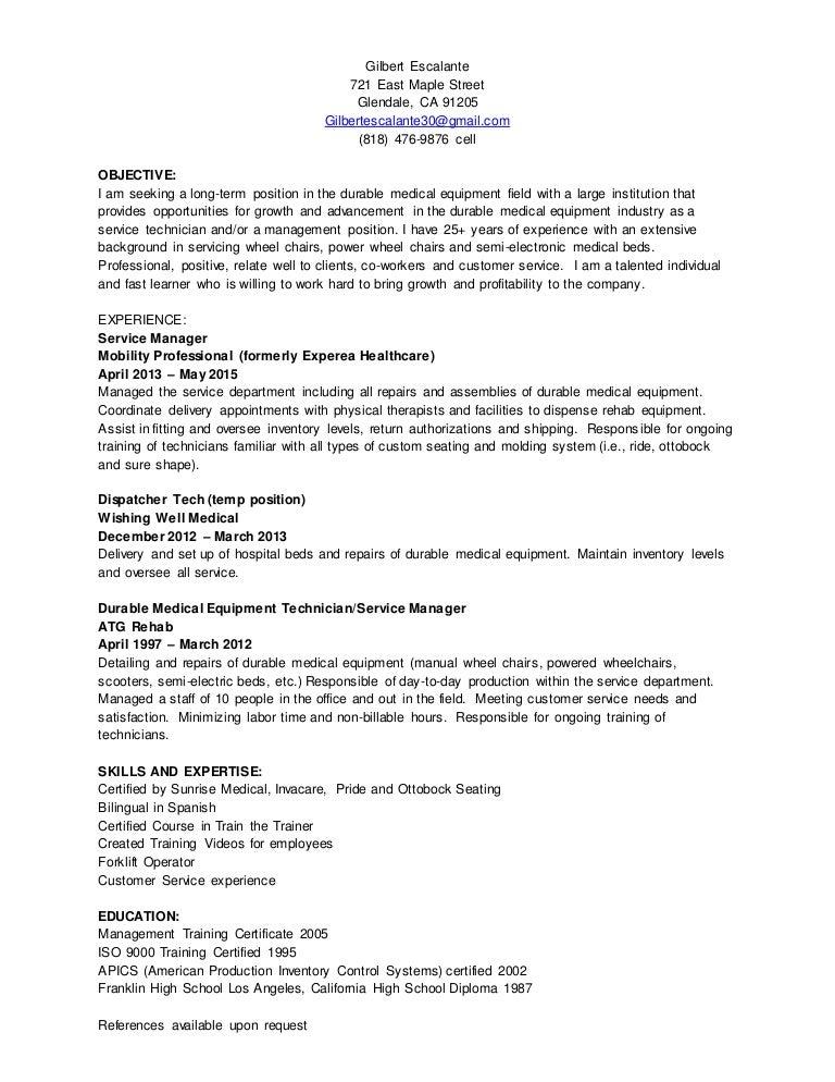 Dme csr resume free user guide gilbert escalante dme resume may 2015 rh slideshare net dme customer service resume dme medical billing altavistaventures Choice Image