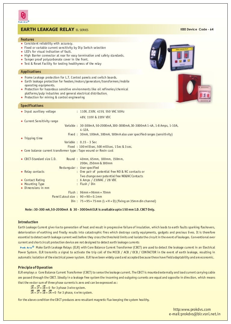 Earth Leakage Relay Relays No And Nc Contacts Of