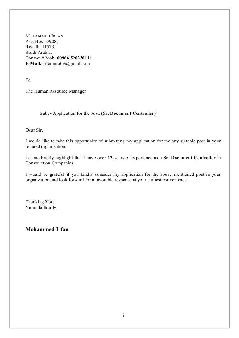 mohammed irfan sr document controller