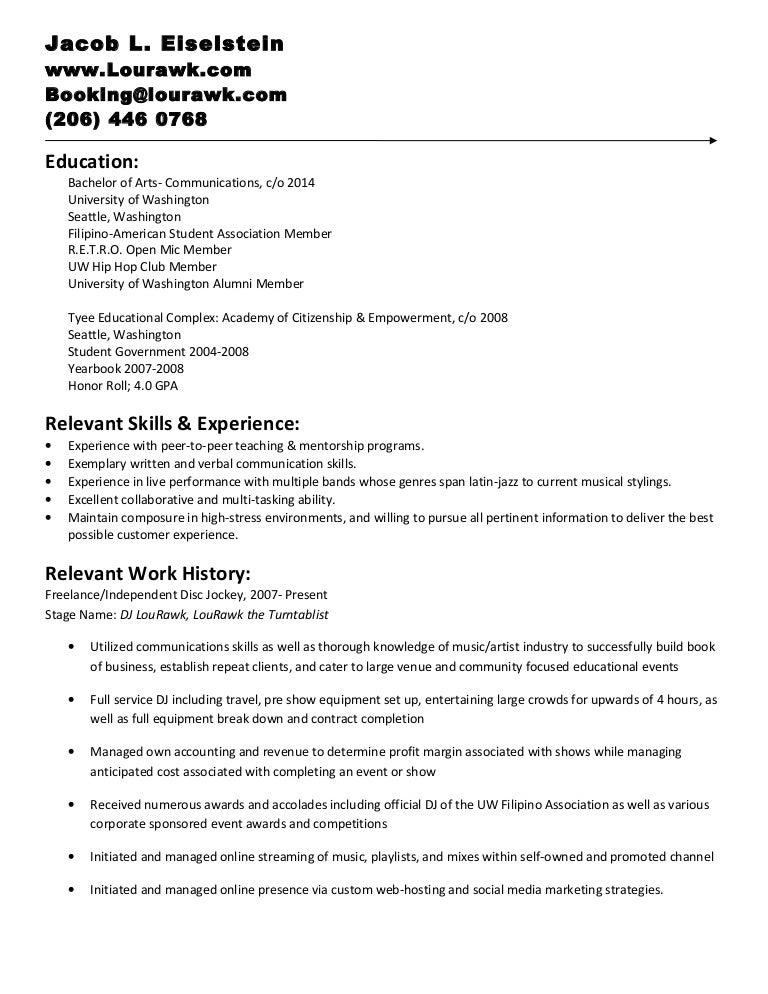 Comprehensive Dj Resume Oct