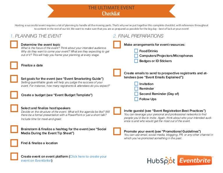 1) Event Checklist