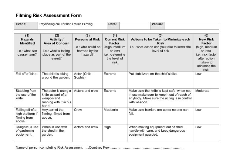 data center risk assessment template - 1 events filming risk assessment form 1