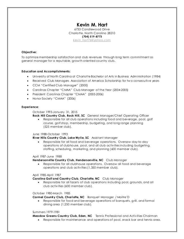 Perfect Country Club General Manager Resume Ensign - Administrative ...