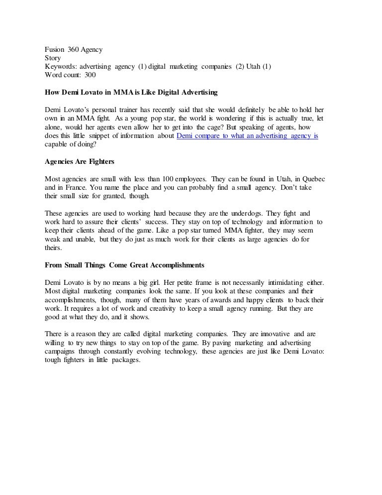 Fusion 360 Agency_Story_How Demi Lovato in MMA is Like Digital Advert…
