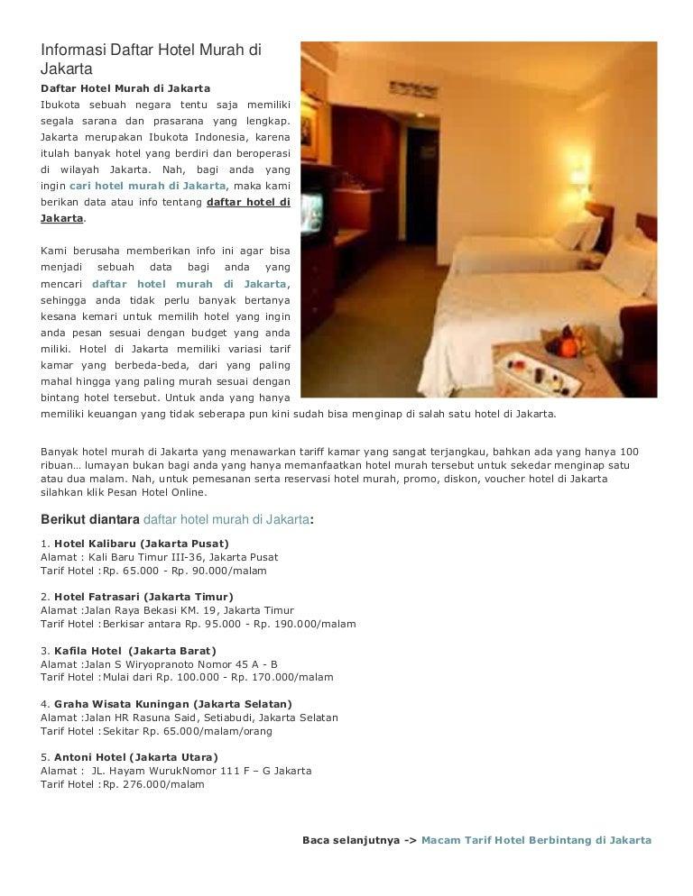 Informasi Daftar Hotel Murah Di Jakarta